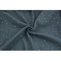Double gauze 100% cotton silver mini stars on a dark graphite background