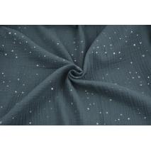 Double gauze 100% cotton silver mini stars on a dark graphite background