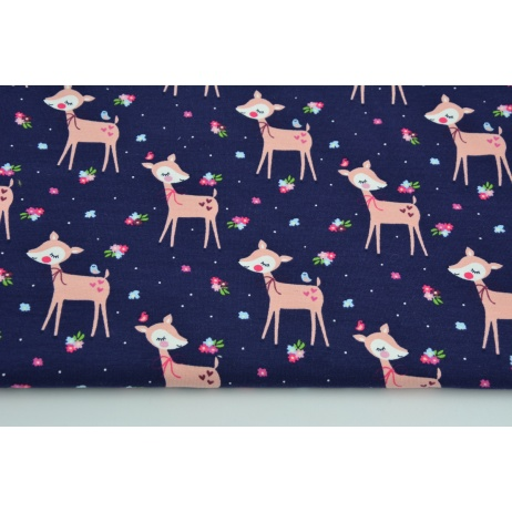 Jersey in a pattern of roe-deers on a navy background