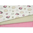 Cotton 100% beige-pink birds, hearts on a white background