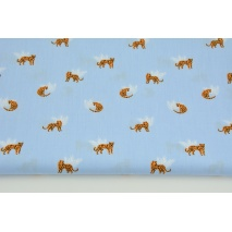 Cotton 100% small cheetahs on a blue background, poplin