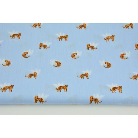 Bawełna 100% małe gepardy na niebieskim tle, popelina
