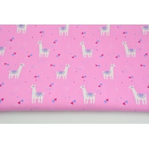 Cotton 100% small llamas, triangles on a pink background, poplin