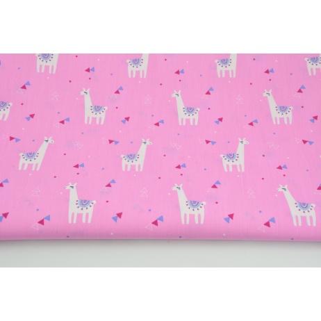 Bawełna 100% małe lamy, trójkąciki na różowym tle, popelina