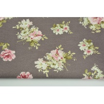 Decorative fabric, medium pink flowers on a brown background 190 g/m2