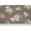 Tkanina dekoracyjna, średnie różowe kwiaty na brązowym tle 190 g/m2