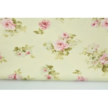 Decorative fabric, medium pink flowers on a cream background 190 g/m2