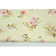 Tkanina dekoracyjna, średnie różowe kwiaty na kremowym tle 190 g/m2
