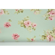 Decorative fabric, medium pink flowers on a mint background 190 g/m2