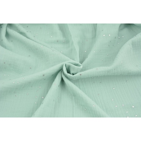Double gauze 100% cotton silver mini stars on a powder mint background