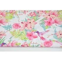 Bawełna 100% kolibry wśród tropikalnych kwiatów na białym tle