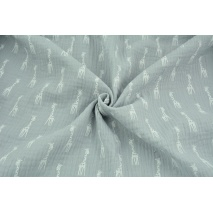 Double gauze 100% cotton giraffes on a light gray background