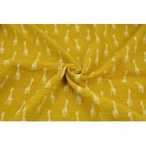 Muślin bawełniany, żyrafy na musztardowym tle