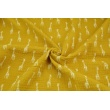 Double gauze 100% cotton giraffes on a mustard background
