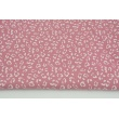 Double gauze 100% cotton white speckles on a lipstick pink background