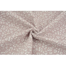 Double gauze 100% cotton white speckles on a dirty heather background