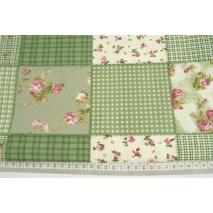 Bawełna 100% patchwork zielony 1m