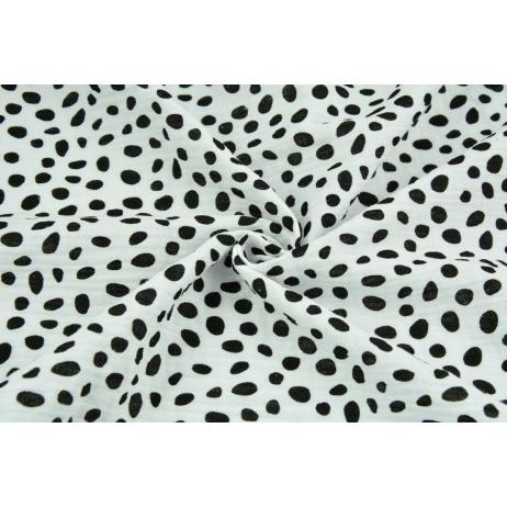 Double gauze 100% cotton black spots on a white background