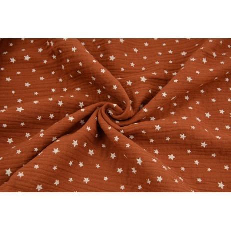 Muślin bawełniany, nieregularne gwiazdki białe na rudym tle