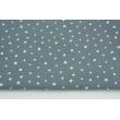 Double gauze 100% cotton irregular white stars on a dark graphite background