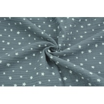 Double gauze 100% cotton irregular white stars on a dark graphite background