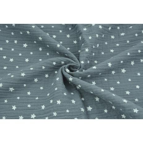 Muślin bawełniany, nieregularne gwiazdki białe na ciemnym grafitowym tle