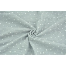 Double gauze 100% cotton irregular white stars on a light gray background