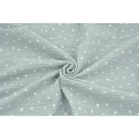 Muślin bawełniany, nieregularne gwiazdki białe na jasnoszarym tle