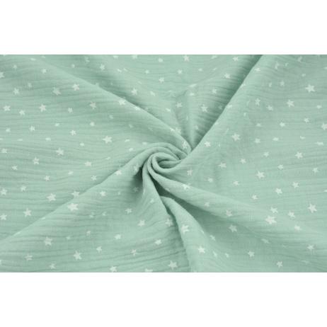 Muślin bawełniany, nieregularne gwiazdki białe na pudrowej mięcie