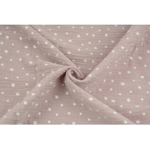 Double gauze 100% cotton irregular white stars on a dirty heather background