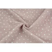 Double gauze 100% cotton irregular white stars on a dirty heather background