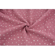 Double gauze 100% cotton irregular white stars on a lipstick pink background