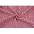 Double gauze 100% cotton irregular white stars on a lipstick pink background