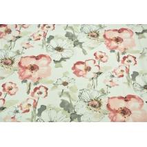 Tkanina dekoracyjna, duże malowane kwiaty - akwarela 168 g/m2