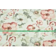 Decorative fabric, large painted flowers - watercolor 168 g/m2