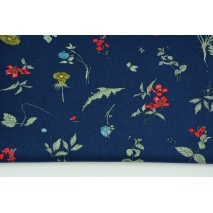 Viscose 100% herbs on a dark navy background