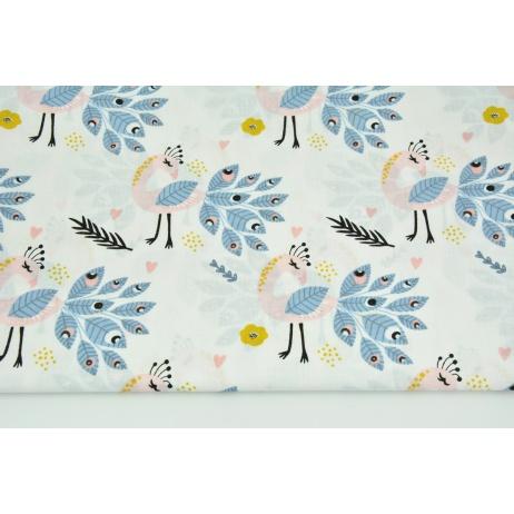 Bawełna 100% różowo-niebieskie pawie na białym tle