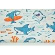 Bawełna 100% turkusowe rekiny na białym tle