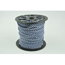Cotton edging ribbon, 2mm navy stripes