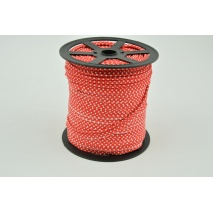 Cotton edging ribbon red dotted