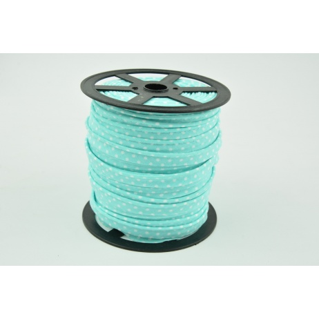 Cotton edging ribbon turquoise dotted