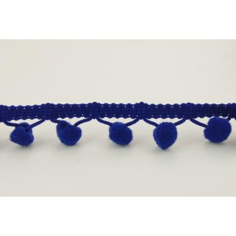 Navy ribbon with small pom poms - double thread
