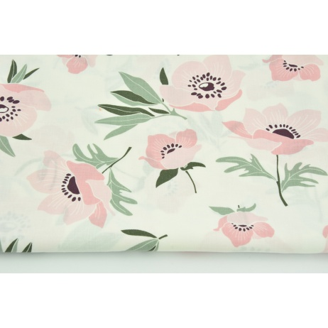 Cotton 100% pink poppies on a cream background