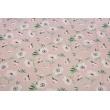 Bawełna 100% różowe maki na brudnym różu