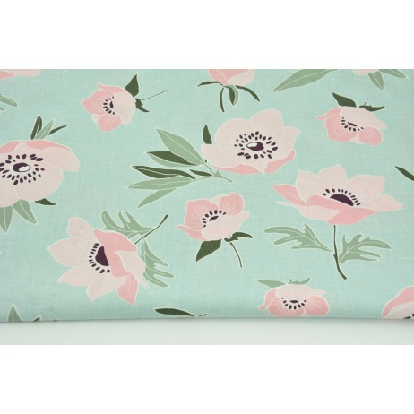 Cotton 100% pink poppies on a powder mint background