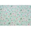 Bawełna 100% różowe maki na pudrowej mięcie