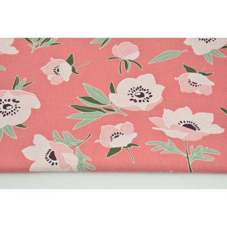 Cotton 100% pink poppies on a dark coral background