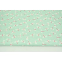 Cotton 100% dragonflies on a mint background