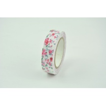 Cotton adhesive tape pink flowers 15mm x 5,5m