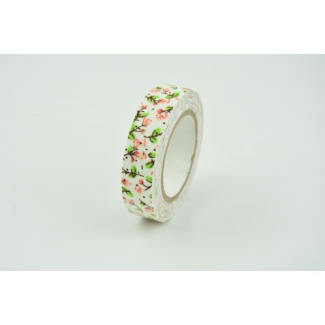 Cotton adhesive tape salmon flowers 15mm x 5,5m